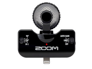 Zoom iQ5 Professional Stereo Microphone for iOS - Top View (Black)
