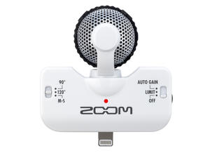 Zoom iQ5 Professional Stereo Microphone for iOS - Top View (White)